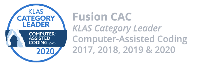 Fusion CAC - KLAS Category Leader - Computer-Assisted Coding - 2017, 2018, 2019 and 2020
