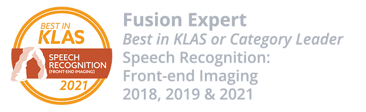 Fusion Expert - KLAS Category Leader - Speech Recognition: Front-End Imaging - 2018 and 2019